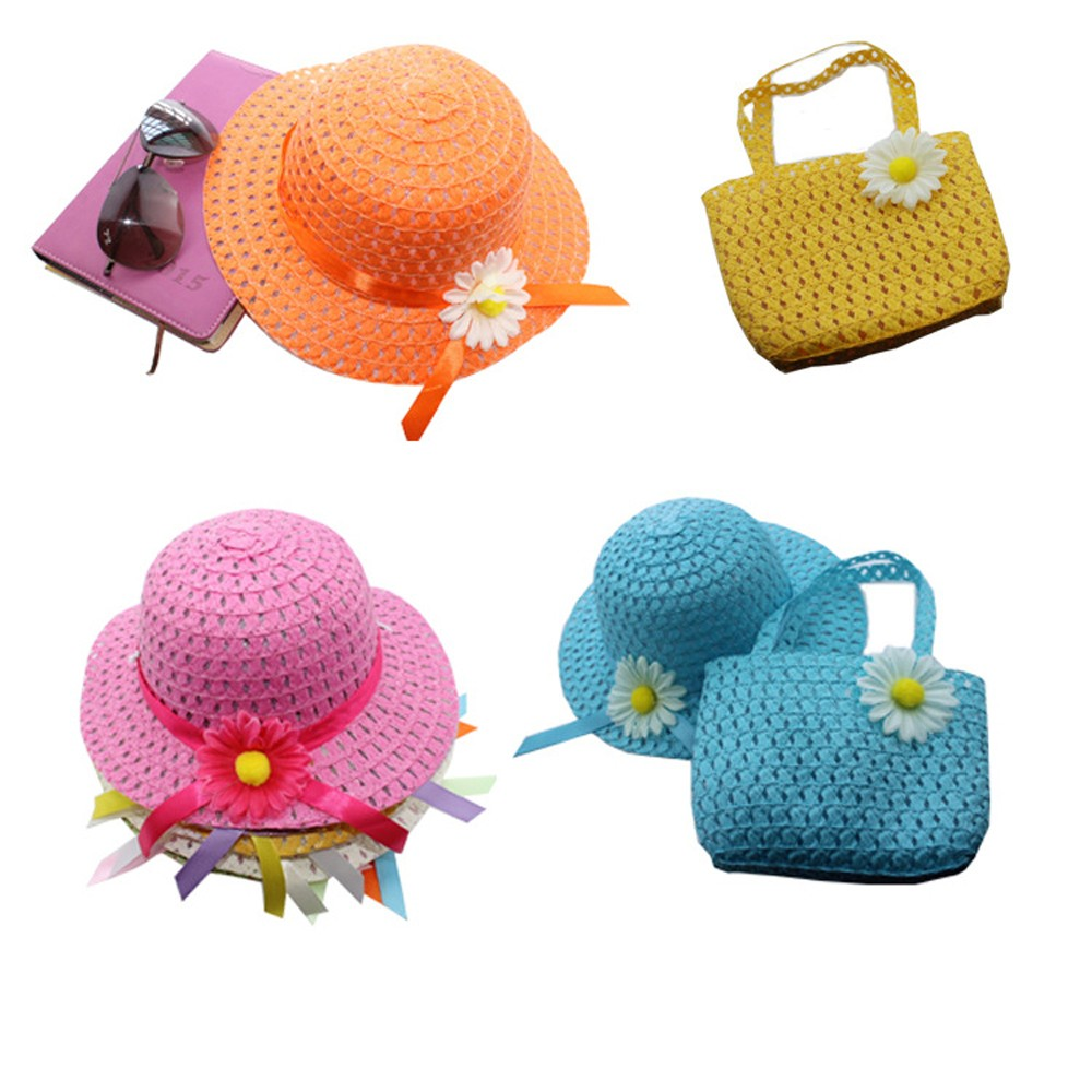 Flower Straw Cap Handbag Beach Suit Summer Straw Handbag And Sun Hat Beautiful Flower Tote Suit For Cute Kids Girls