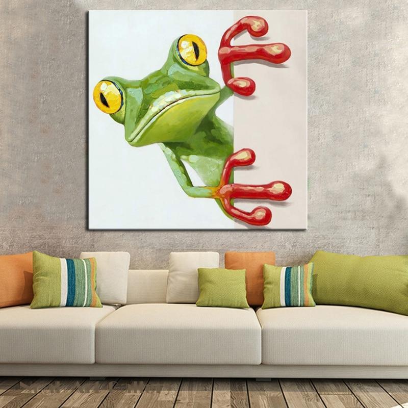 Aliexpress.com : Lebendige Frosch Malerei Wandkunst Haushaltswaren  Dekorative Malerei Für Kinderzimmer Handgemalte Acryl Ölgemälde Auf  Leinwand Ungerahmt ...