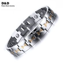 font b Health b font Care Magnets Men s Bracelet Bangle High Polished Adjustable Stainless