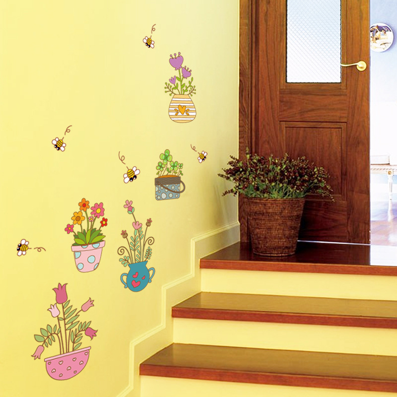 Potted Flowers Wall Sticker Cabinet Hallway Window Glass Home Decor ...