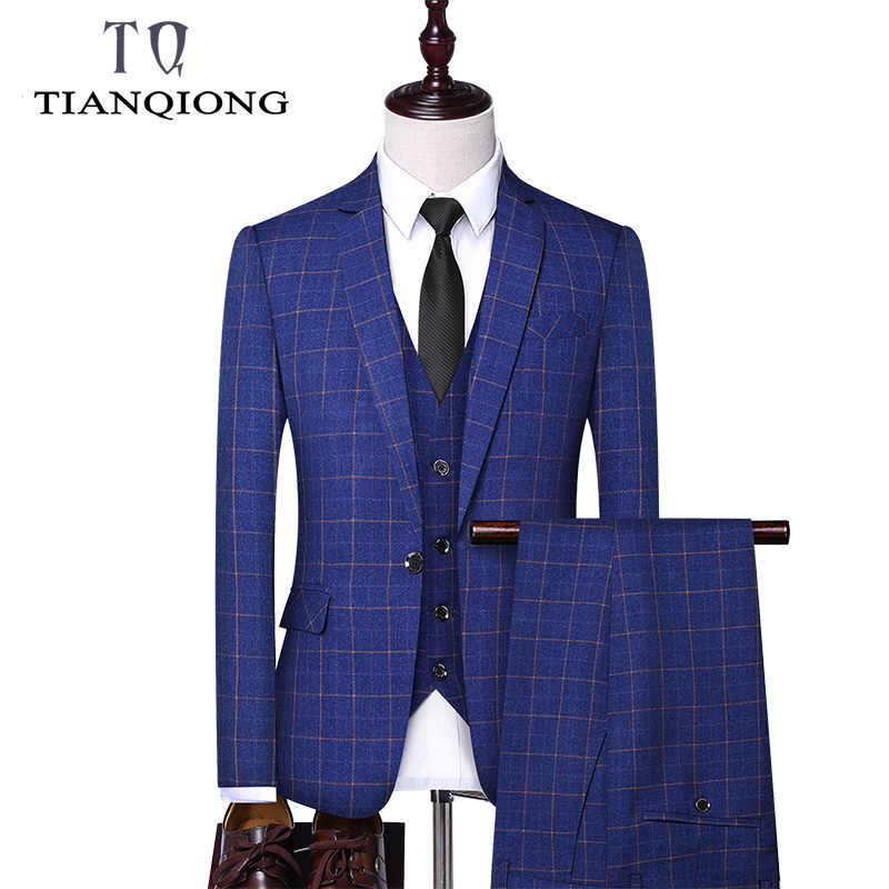 TIAN QIONG Brand 3 Pieces Men Suit 2019 Slim Fit Mens Plaid Suits Groom Wedding Suit High Quality Men's Formal Suits with Pants