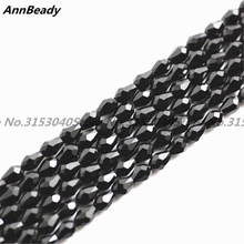 100pcs Black Color 3*5mm Waterdrop shape Loose Austria Crystal Beads For Jewelry DIY Making