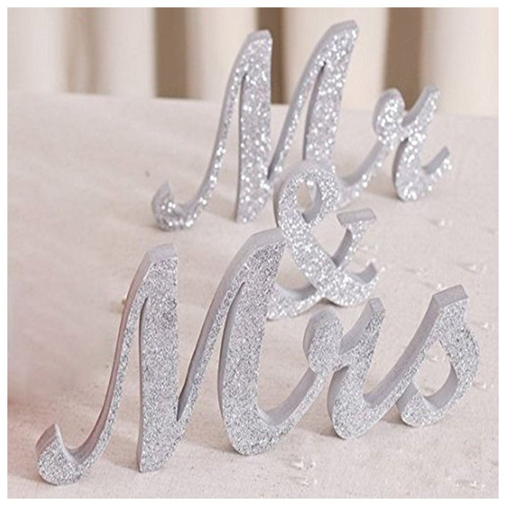 Practical Boutique Large Vintage Exquisite White Mr & Mrs Signs Elegnat Wooden Freestanding Letters For Wedding Sweetheart Tab