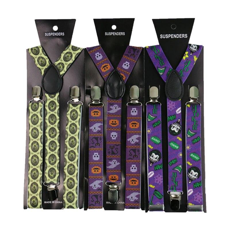 Adjustable Elasticated 2.5cm Wide Hallowmas Print Suspender Straps Unisex Men Womens Y-Shape Elastic 3 Clip Suspenders