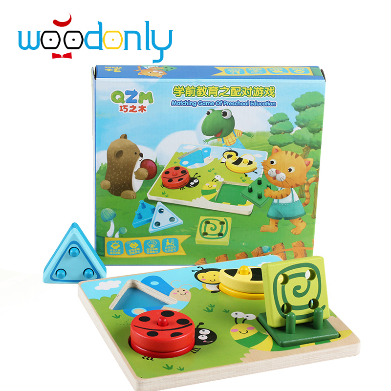 Educational Wooden Geometric Sorting Board Blocks Montessori Kids Baby Educational Toys  Matching Game Building block delivery is free children s makeup geometric building blocks montessori teaching aids 8 sets wooden toys educational toys
