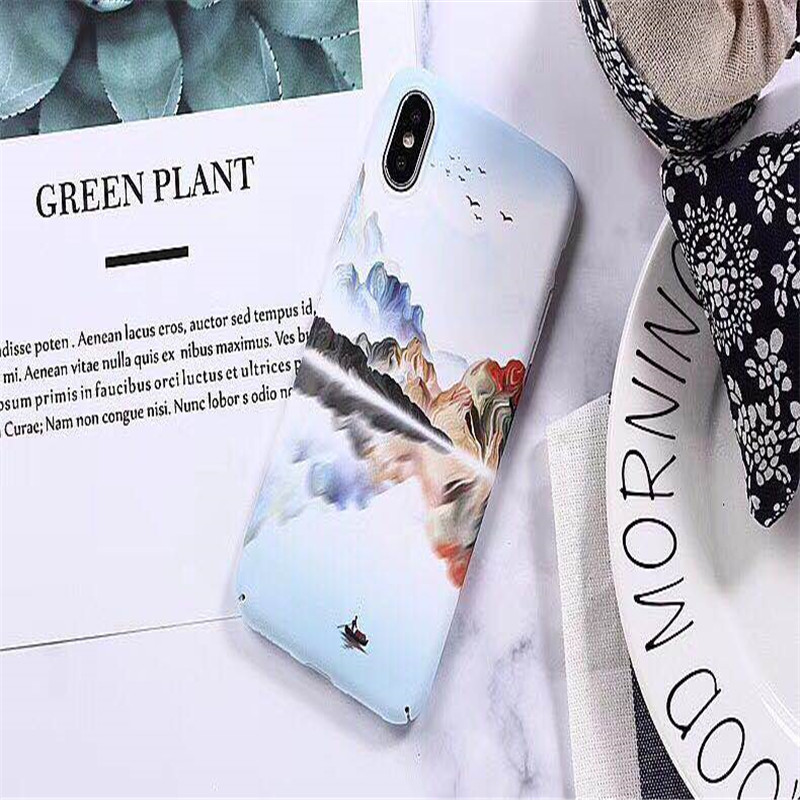 Hard Plastic PC Luminous Retro Flower Floral For iphone 8 Water Stickers english letters Case for iphone7plus 6 6s X