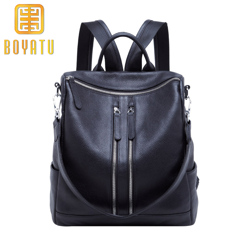 Genuine Leather Backpack Female Multi School Backpack Women Sac A Dos Casual Travel Shouder Bags for Women 2018 Large Capacity