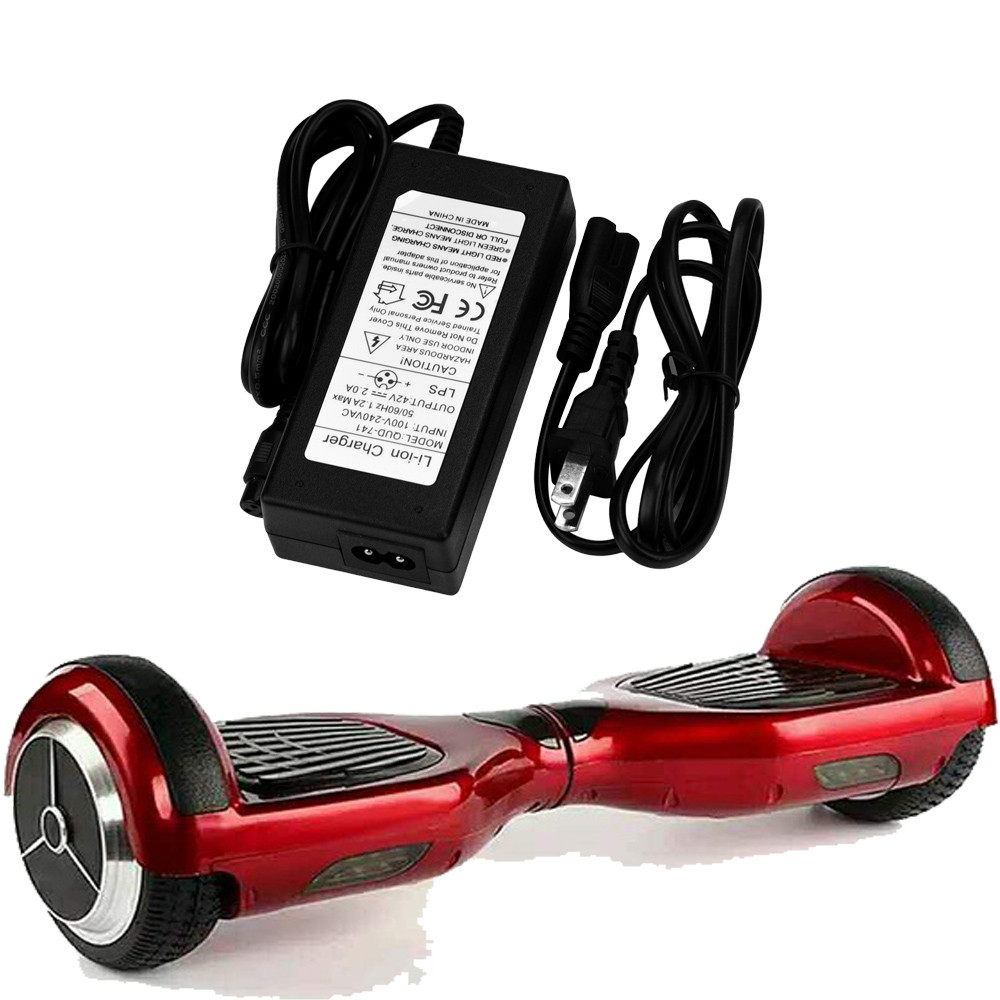 Hoverboard Electric Smart Self Balancing Scooter 3 Prong Charging Part Pcb Circuit Board Control Universal 42v Black Color Battery Charge 2a Rechargeable Adapte Suitable For 3p Plug Wheel