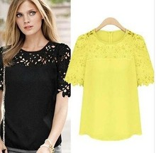 Pop ! Spring Summer New Nice Women Chiffon Blouses Hollow Out Lace Blouse Short Sleeve Shirts Plus Size Pops For Women Clothing