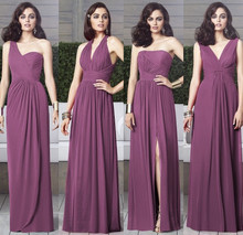 Purple Chiffon Long Bridesmaid Dresses A-Line 2015 New Halter Women Party Floor-Length vestidos de dama honor BD24
