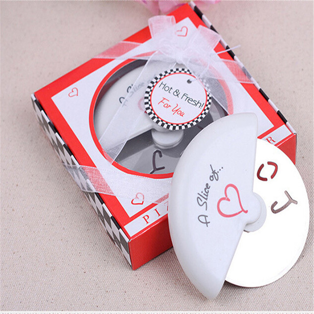 A Slice Of Love Stainless Steel Pizza Cutter wheel stainless steel Wedding Gifts Favors Baking Cortador De Pizza Roller Knife