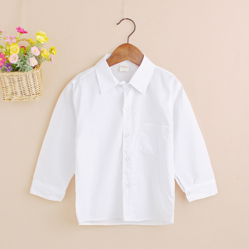 2018 Kid Boy Lapel Formal Solid Tops Toddler Button Front White Baby Shirt Comfortable White Shirt button front frilled detail top