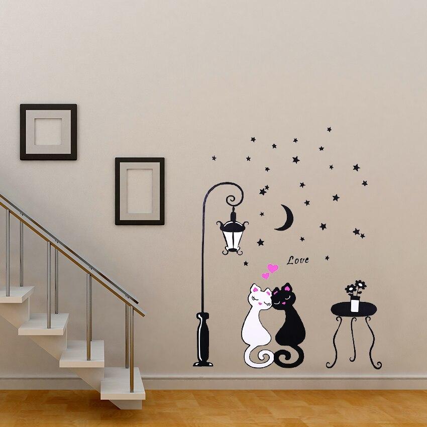1 unids Linda Pareja de Dibujos Animados Gato Vid de La Flor 3D Wallpaper DIY Pa