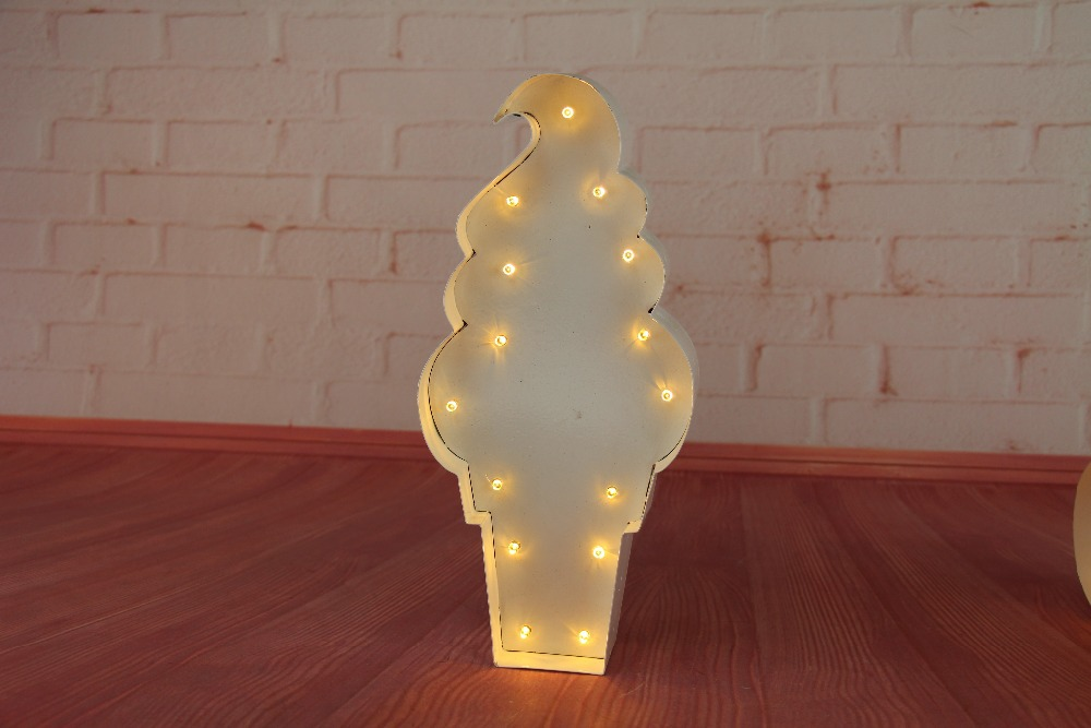 "12"" Icecream LED Marquee Sign LIGHT UP Vintage metal night light wall lamps Indoor Deration"