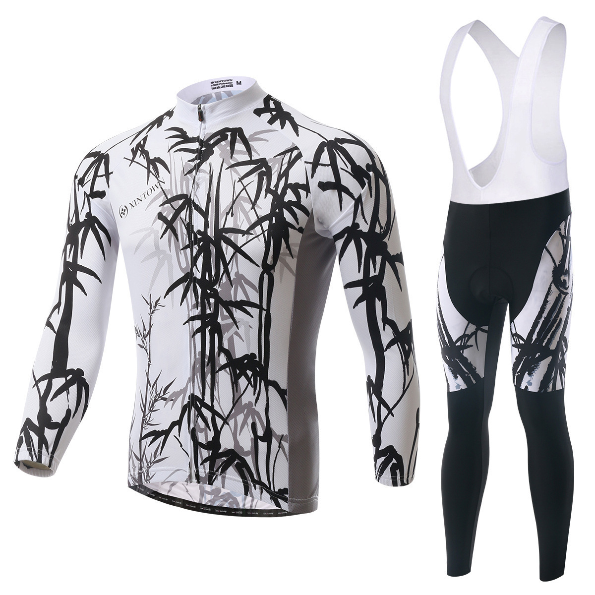 BOODUN Ink Painting Of Bamboo White Riding Clothes Straps Long Sleeve Serve Catch Down Windbreak Keep Warm Function Underwear