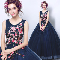 Navy Blue Quinceanera Dresses With Embroidery Flowers Sweet 16 Dresses Ball Gown Corset Bithday Party Gowns