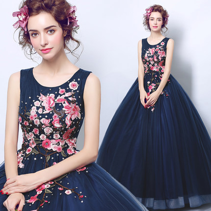 navy blue quinceanera dresses with embroidery flowers