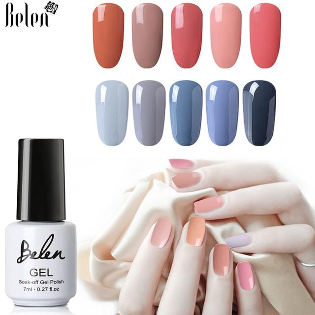 Belen 7ml Gray Series Blue Red Gel Nail Polish Lacquer Need Top Base Coat Uv