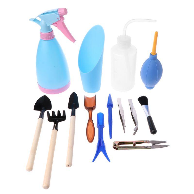 14pcs Mini Garden Hand Tools Transplanting Tools Succulent Tools Miniature Planting Gardening Tool Set