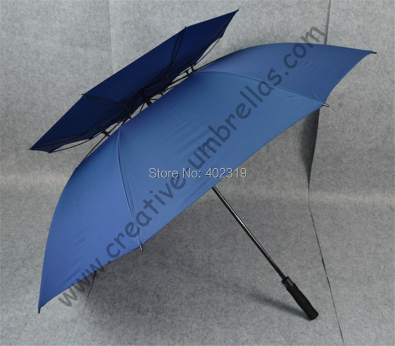 3pcs/lot Real double layers 210T pongee golf umbrellas fiberglass auto open,anti-thunder,anti static,colour random selection