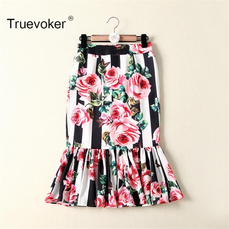Truevoker Europe Summer Designer Skirt Women's Noble Color Block Striped Flower Printed Knee Length Mermaid Skirt