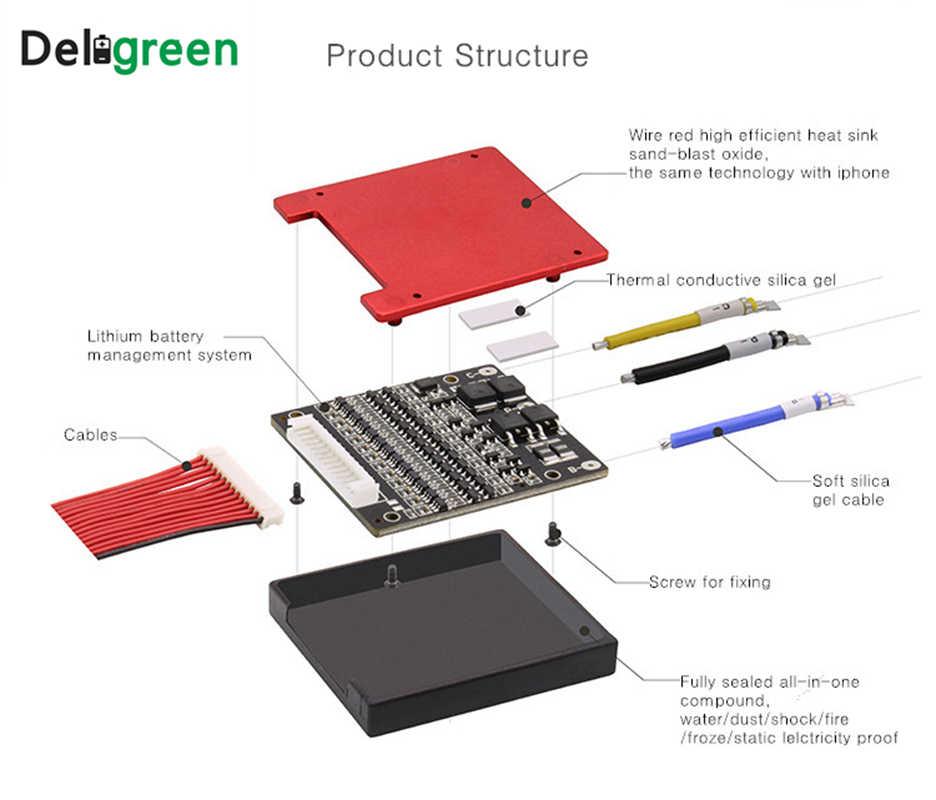 Deligreen 4S25A35A45A60A 12V PCM/PCB/BMS для литиевых аккумуляторов 3,2 V LiFePO4 батарейный блок отдельный порт