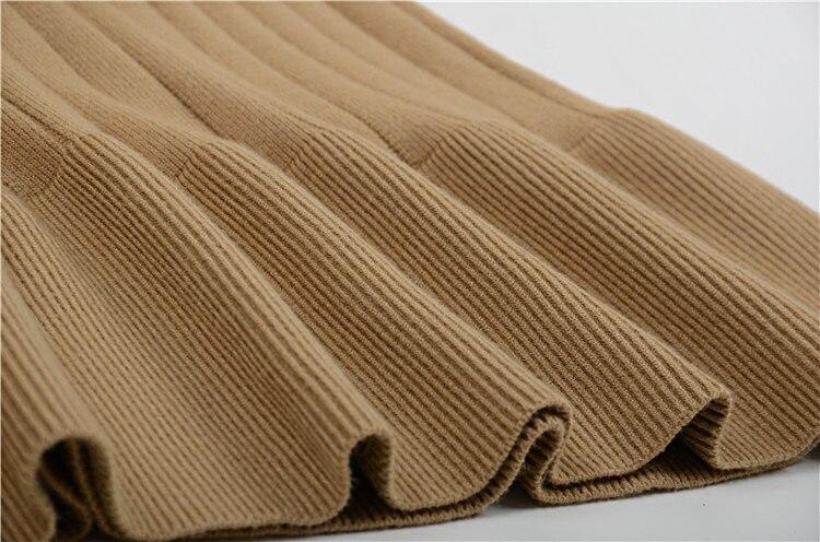 Volants Pull Robe Nouveau Pulls Noir Et Hiver Rond À Manches bleu En Longues kaki Longue Automne 2018 Col Tricot qwXPtxHwO