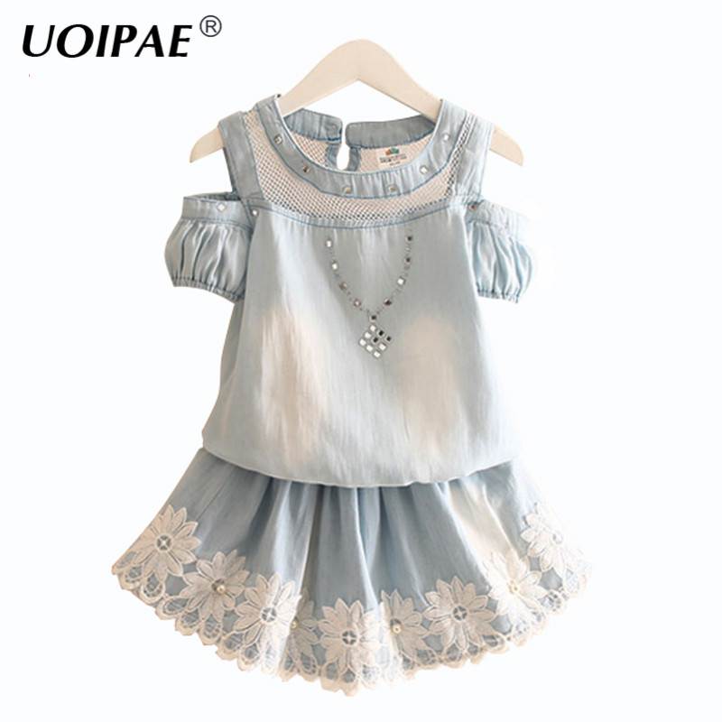 Summer 2017 Girl Set Clothes New Fashion Lace T-shirt Kids Short Sleeve+Skirts For Children Flower Denim 2 Piece Clothes 4875W family fashion summer tops 2015 clothers short sleeve t shirt stripe navy style shirt clothes for mother dad and children