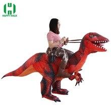 Dorosły dinozaur T REX nadmuchiwany kostium boże narodzenie Cosplay jeździć na dinozaur zwierzęcy kostium kostium na Halloween dla kobiet mężczyzn