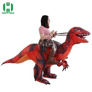 Image 1 - 大人の恐竜T REXインフレータブル衣装クリスマスコスプレに恐竜動物ジャンプスーツハロウィーンの衣装男性