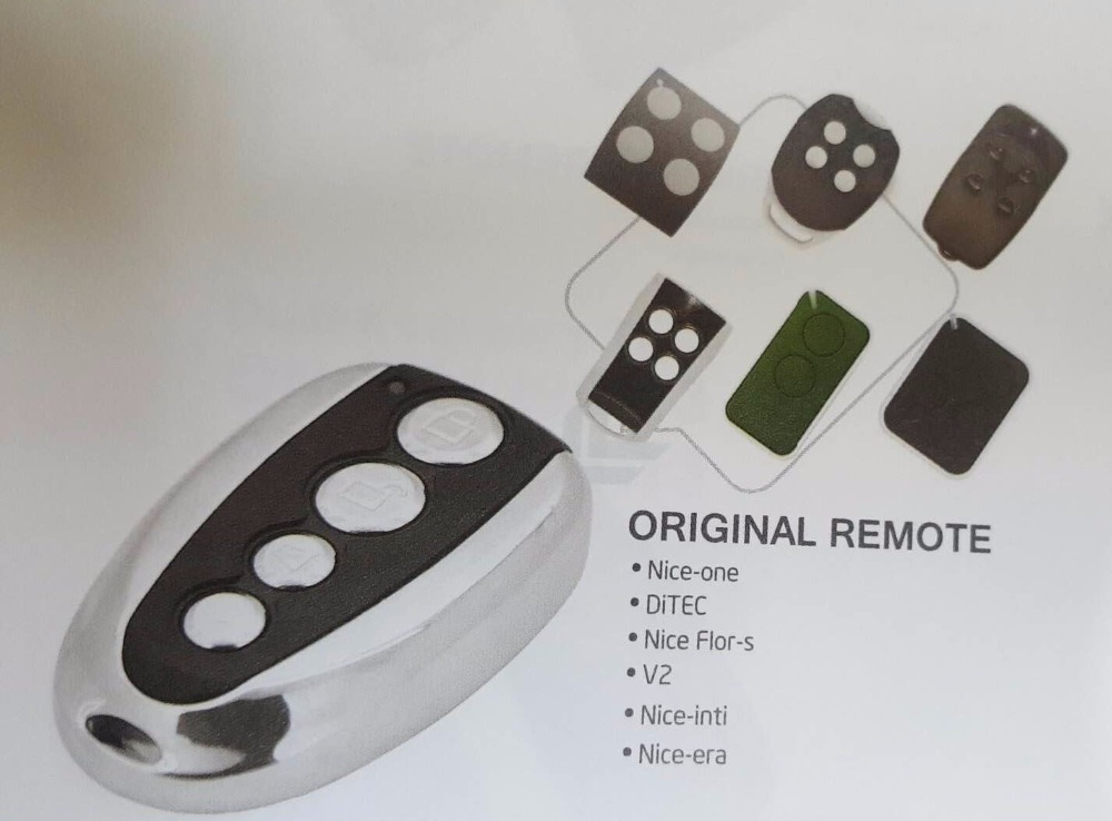 Nice Flor-s One Nice Inti Era DiTEC V2  Compatible Remote Control 433.92MHz Rolling Code