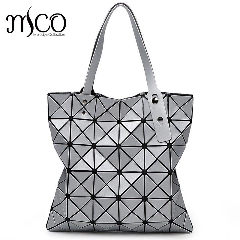 Japanese Bao Diamond Lattice Tote Matte 6*6 Handbag Ladies Geometry Laser Women Beach Shoulder Bag Lucent Prism Holographic Bags