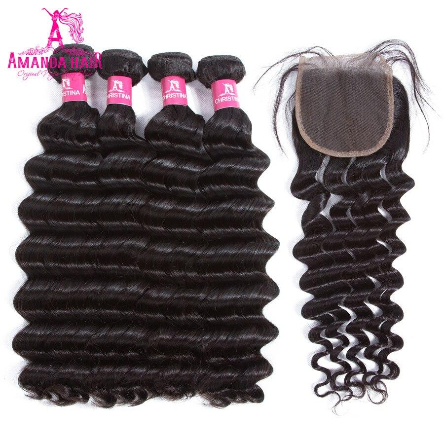 Аманда салон перуанские пучки волос и Синтетическое закрытие шнурка волос Свободные глуб ...