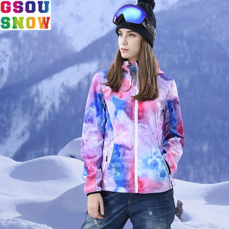 GSOU SNOW Brand Softshell Women Windbreaker Fleece Hunting Cycling Skiing Skating Waterproof Windproof Female Outdoor Jacket