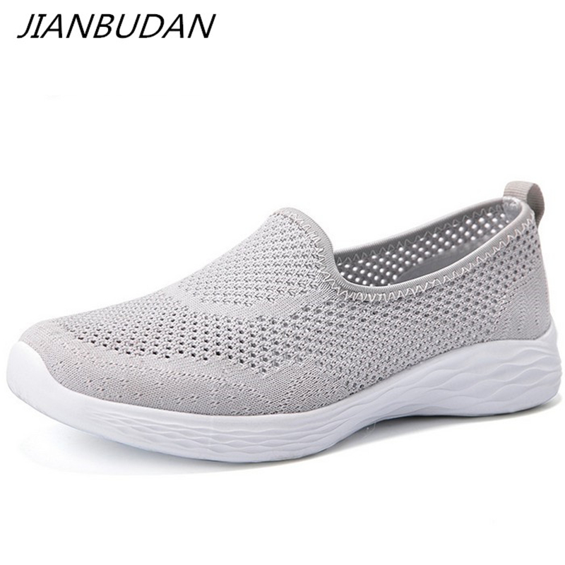 JIANBUDAN Women's Sneakers Summer Flat Bottom Breathable Walking Shoes Mesh Casual Slip-on Lightweight Shoes 35-40 Size