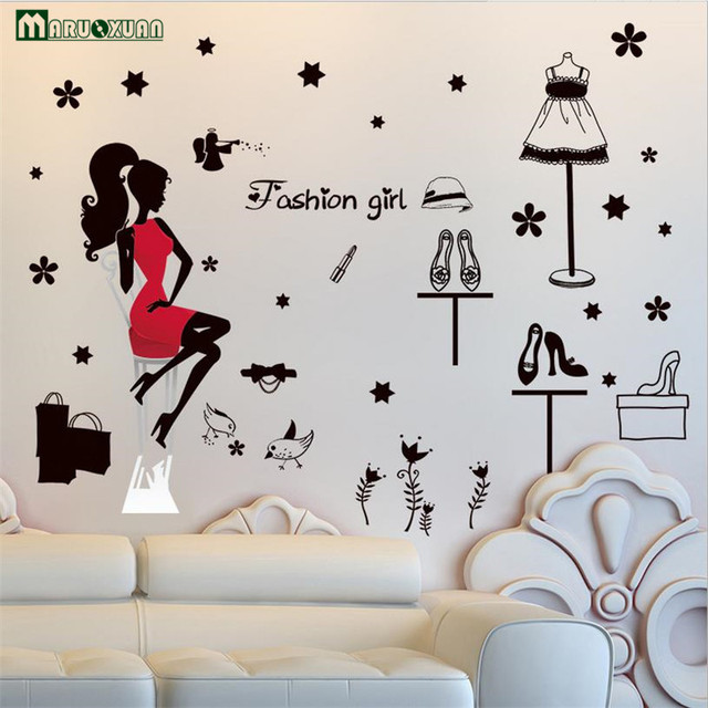 Maruoxuan Fashion Shopping Girl Stickers Bedroom Bedside Living Room Wall  Background Decorative Stickers PVC Wall Stickers Part 54