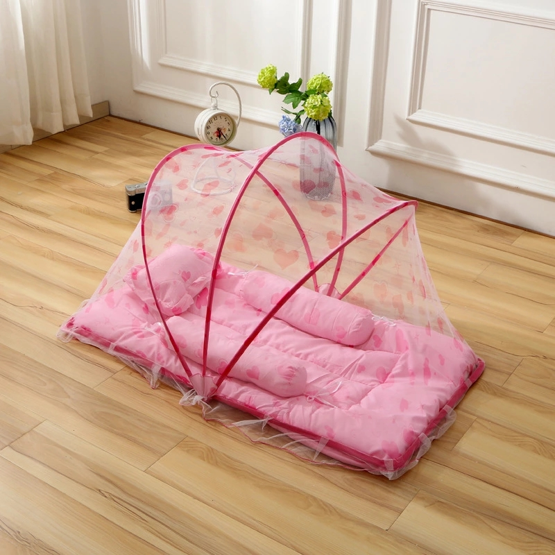 Baby Bed Mosquito Net Portable Baby Bed Canopy +Cushion+Pillow Baby Crib Netting Tent Folding Mosquito Nets tenda infantil 3pcs baby bed canopy without bottom portable folding baby bed mosquito net children mosquito tent 65 115cm kids outdoor camping tent