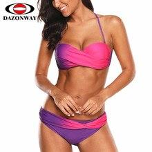 купить DAZONWAY Bikini 2019 Swimsuit Push Up Swimwear Female Women Sexy Bandeau Solid Brazilian Bikini Set Beach Bathing Suit Pink S~XL дешево