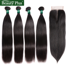 Brazilian Straight Human Hair Bundles med Closure Beauty Plus 4 Bundles med Closure Middle Brown Lace Non Remy Hair Extensions