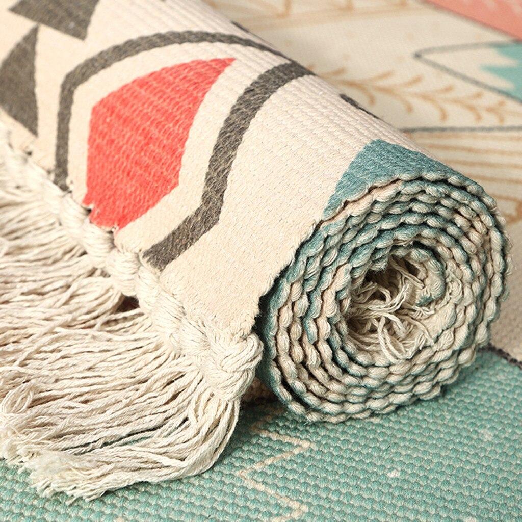 Géométrique résistant à l'usure pur coton tissé gland antidérapant tapis chambre salon tapis de sol tapis de salle de bain absorber l'eau - 6