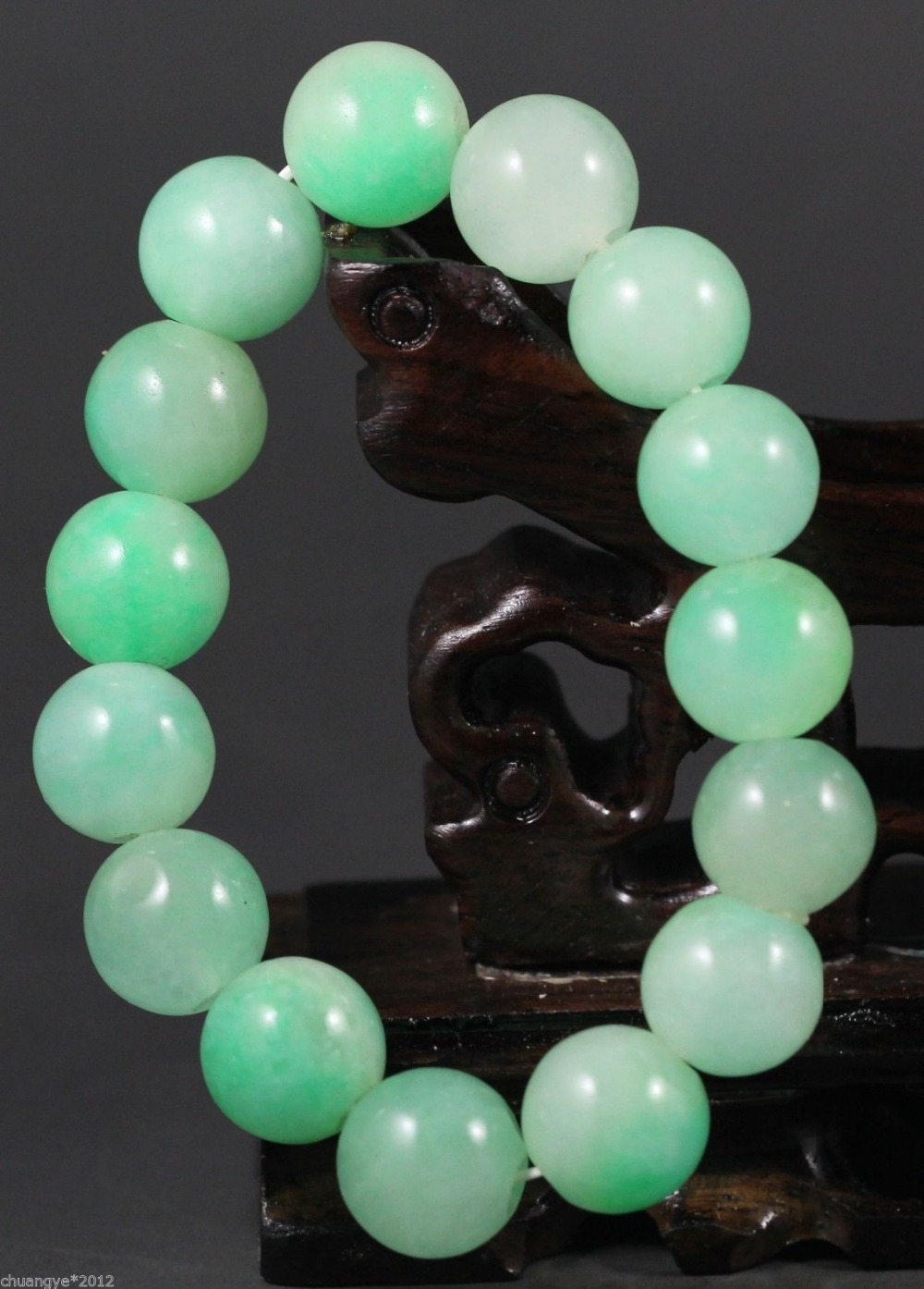 Chinese Jade Stone Stretchy Bracelet With Jade Beads,beautiful Bangle