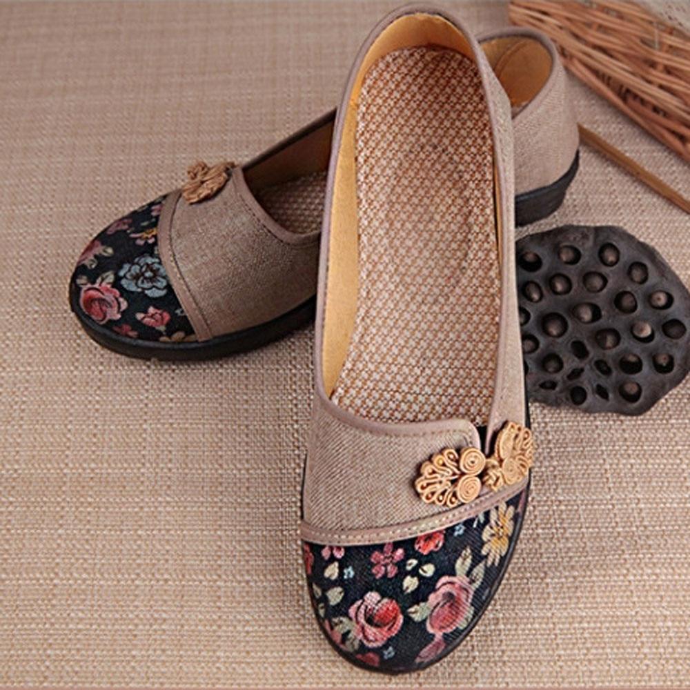 Women Shallow Broken Flower Round Toe Anti Skidding Cloth Shoes Casual Shoes 2018 New women casual flat shoes woman terlik 15