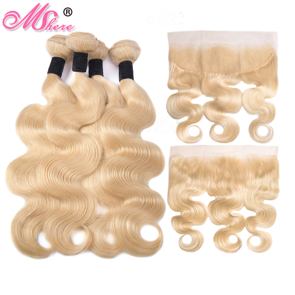 Mshere 613 Bundles With Frontal Brazilian Body Wave With Frontal Remy Blonde Human Hair Lace Frontal