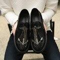 Los hombres de cuero casual zapatos slip on zapatos mocasines pisos diseñador de la marca de plata de oro brillante zapatos de ocio plana zapatillas XK122713