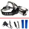 Headlamp Headlight super bright powerful zoomable rechargeable silver t6 head flashlight hunting lights+18650 battery charger