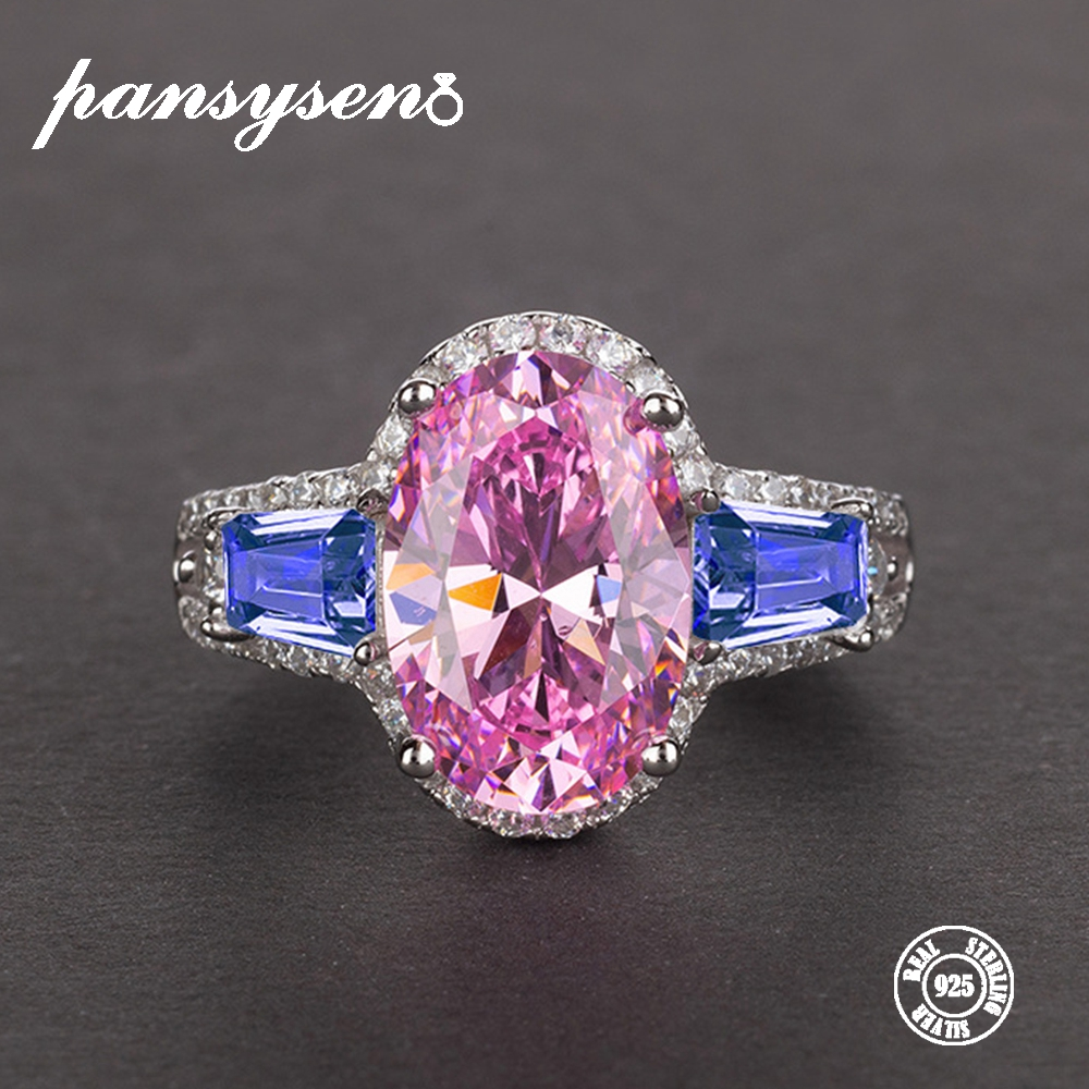 PANSYSEN Luxury Mix Color Wedding Gemstone Finger Rings For Women Genuine 925 Sterling Silver Party Cocktail Ring Gift Size 5-12