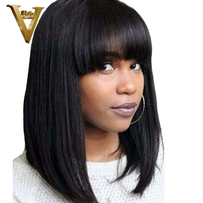 Bob-Wigs Bang Soft-Hair Indian Thick Short Bleached Knots Natural with And Black-Color