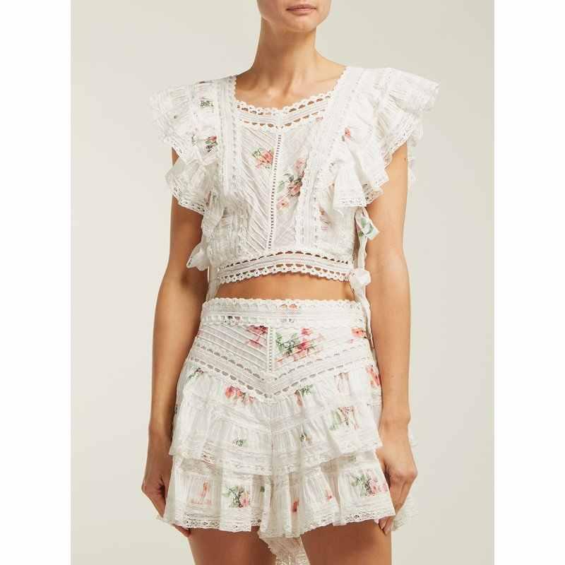 滑走路デザイナー花プリント二個セット 2019 夏甘い白レースパッチワークトップ + ショート 2 ピース衣装のための女性