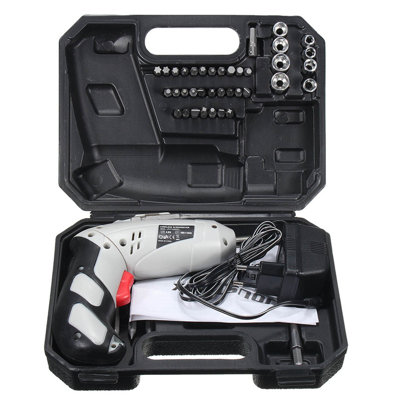 45Pcs Drills 4.8V Cordless Rechargeable Reversible Electric Screwdriver Tool Set Electric Screwdriver with Plastic case 2016 45 pcs rechargeable cordless reversible electric screwdriver 4 8v kit set hot handheld electric screwdriver