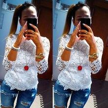 Женская мода Дамы Свободные Длинным Рукавом Повседневная Блузка Рубашка Топы Кружева Вышивка Блуза